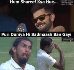Virat Kohli's reaction after watching Ishant Sharma and Ashwin Ravi in the Bengaluru Test #INDvAUS For more cricket fun click: http://ift.tt/2gY9BIZ - http://ift.tt/1ZZ3e4d
