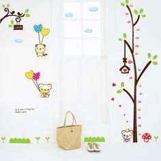 Livraison gratuite toise lapin mignon avec arbre bricolage. stickers muraux papier peint pâte adhésive pour