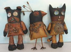 Steampunk Buddies - dog, bird and cat | Gears, watch parts, beads and weathered safety pins  on painted muslin |  Susan Barmore Kiwi??