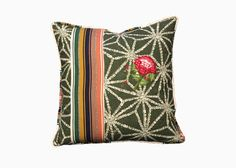 EMBROIDERED 1509EB    The Mrs. Burnside pillow in Matcha with Guatemalan fabric and hand embroidered geraniums