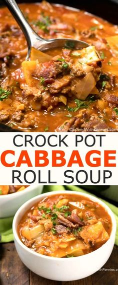 Crock Pot Cabbage Roll Soup is a simple twist on traditional Cabbage Rolls, a family favorite for years! Cabbage, onion, beef and bacon all tenderly prepared in a rich beef and tomato broth, slowly simmered in your crock pot. This creates a tasty soup tha Crockpot Cabbage Roll Soup, Cabbage Roll Casserole, Crock Pot Cabbage, Crockpot Cabbage Recipes, Cabage Roll Soup, Stuff Cabbage Soup, Crock Pot Soup Recipes, Beef Cabbage Soup, Kitchen