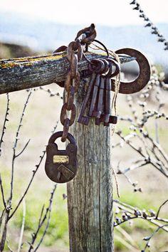rusty keys and lock.