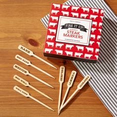 """From rare to well done, these 3.5"""" long bamboo steak markers are a great way to tell which steaks are delish and perfect to eat! #steak #steakmarkers  http://www.littleobsessed.com/bamboo-steak-markers-set-of-80/"""