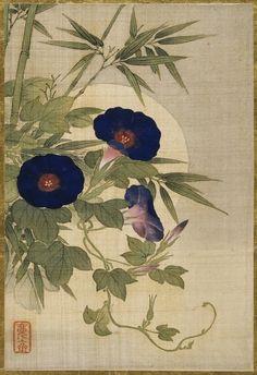 huariqueje:    Silk painting of flowers - Okamoto Shūki Japanese, 1807-1862