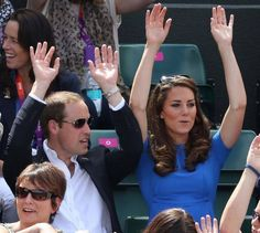 William and Kate doing the wave at the Tennis during the London Olympics