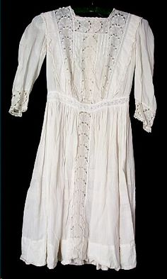Dress, girl's, off-white cotton, heavy peacock-tail style off-white embroidery, c. 1910 | Museum Online Collections | Wisconsin Historical S...