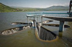 Star Shaped Spillway, Armenia Spillways release floods so that water does not overtop and destroy the dam; water does not regularly flow over a spillway unless Beautiful World, Beautiful Places, Amazing Places, Amazing Things, Simply Beautiful, Absolutely Stunning, Image Nice, Dam Construction, Construction Materials