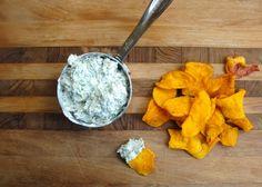 Greek Yogurt Broccoli Dip and Sweet Potato Chips - for a twist on the sweet potato!