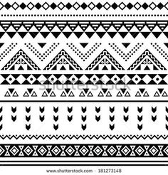 Tibal seamless pattern, black aztec print on white background by RedKoala