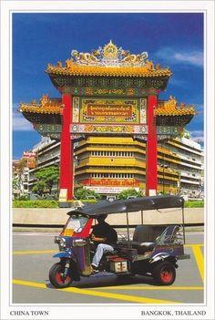 "Photo Postcard ""CHAINA TOWN (Yaowarat Road) BANGKOK, THAILAND"" & Free Shipping"