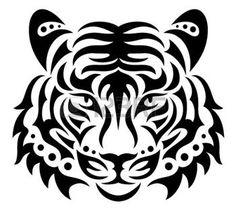 chat dessin noir et blanc: Tête de tigre
