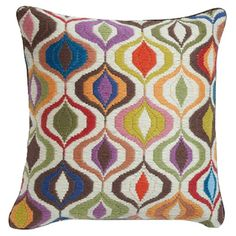 Jonathan Adler Bargello Waves Wool Pillow