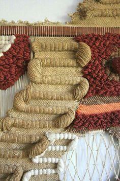 Don Freedman Woven Jute Fiber Art Tribal Wall Hanging, detail Art Fibres Textiles, Weaving Textiles, Weaving Art, Tapestry Weaving, Loom Weaving, Hand Weaving, Textile Texture, Textile Fiber Art, Art Fil