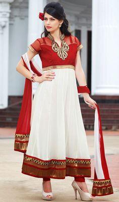 Trendy Off White Georgette Anarkali Dress Price: Usa Dollar $125, British UK Pound £74, Euro92, Canada CA$136 , Indian Rs6750.
