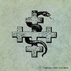 Snake Entwined Around A Crusader Cross  by EmpireLineStamps