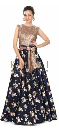Navy blue gown features in sequin and floral print only on Kalki Pakistani Dresses, Indian Dresses, Indian Outfits, Jw Moda, Navy Blue Gown, Blue Bow, Floral Gown, Western Dresses, Indian Attire