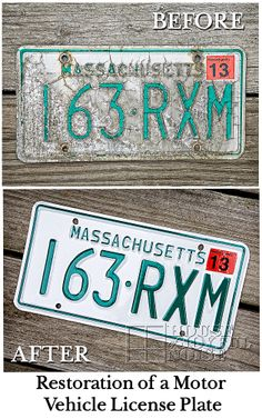 The restoration of a motor vehicle license plate. Before and after.  restoration-massachusetts-motor-vehicle-license-plate-before-after, #restoration #vehicles #beforeandafters houseofjoyfulnoise.com