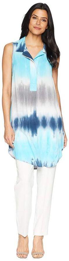 Mod-o-doc Printed Rayon Notch Collar Sleeveless Tunic Women's Blouse