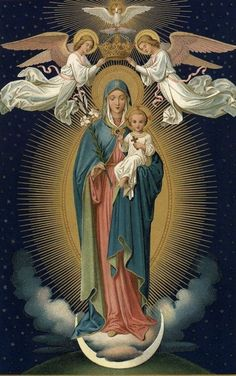 The crowing of our Lady as Queen of heaven and earth Blessed Mother Mary, Divine Mother, Blessed Virgin Mary, Religious Pictures, Religious Icons, Religious Art, Hail Holy Queen, La Madone, Queen Of Heaven