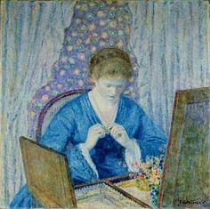 Frederick Frieseke : Girl in Blue