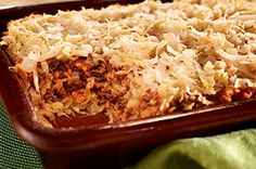 Easy Layered Cabbage Casserole recipe (To reduce the carbs and sugars per serving, omit the rice. Substitute a can of diced tomatoes for the two cans of tomato soup and omit the water. Just mix the cooked cabbage with the other ingredients and bake. Add a little shredded cheese to top.)