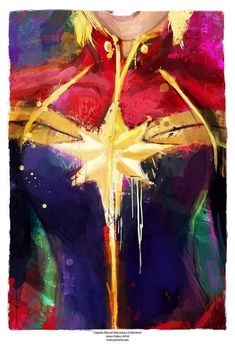 Captain Marvel Marvelous Collection Abstract Art Print by j2artist