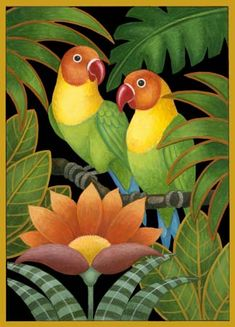 """""""Two Parrots and Flowers,"""" Stephanie Stouffer Art And Illustration, Jungle Art, Indian Art Paintings, Tropical Art, Bird Drawings, Fabric Painting, Plant Painting, Bird Art, Beautiful Birds"""