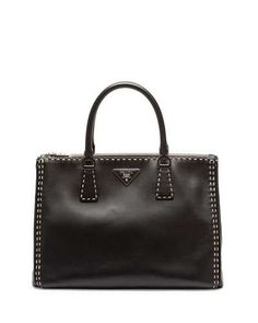 V2B8Y Prada City Calf Double-Zip Executive Tote Bag, Black/White (Nero/Bianco)