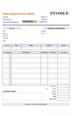 free auto repair receipts
