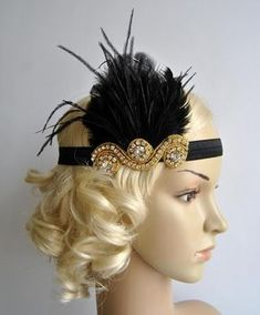 Bridesmaids head piece Gold and Black The Great Gatsby20's flapper by BlueSkyHorizons
