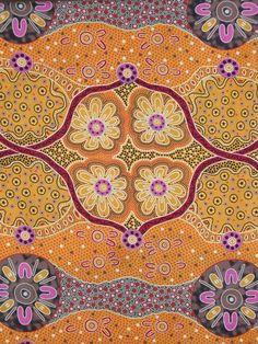 Womens Business Gold Aboriginal Print Pure Cotton Fabric