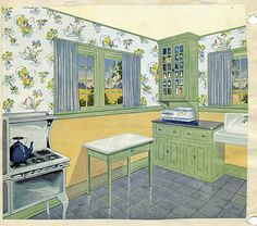 Vintage 1920 kitchen  Found this in an old scrapbook for a 1930 high school Home Ec assignment. I love the green, yellow, and steel blue color scheme. See more 1920s vintage kitchens on Antique Home & Style.