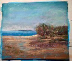 Cool Blue Dune  5x5 Pastel by Sandi Graham