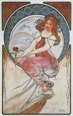 """Alphonse Mucha ~ """"Painting"""" 1898"""