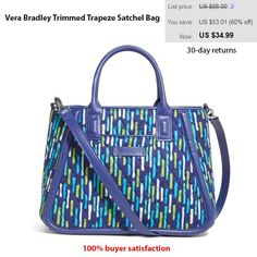 a3c1ba86d17 Vera Bradley Trimmed Trapeze Satchel Bag  VeraBradley   TrimmedTrapezeSatchel Satchel Bag