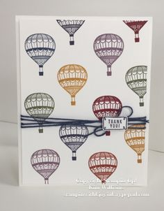 Stampin Up, Lift Me Up stamp set from the New Stampin Up Occasions Catalog 2017. Kim Williams, stampinwithkjoyink.typepad.com. Pink Pineapple Paper Crafts. Lots of jewel tone colors on this charming thank you card. Hot Air Balloons in the regal colors. Easy card idea. Masculine card ideas. Card ideas for men.