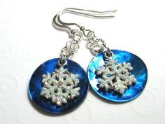 Glittery Snowflake Earrings Blue and Silver by SkyLineJewelry, $18.00