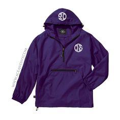 Monogrammed Unlined Pullover Rain Jacket - Purple – Ace & Ivy