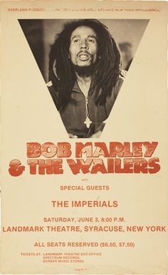Bob Marley Concert Poster for the Landmark Theatre, New York, 1978 Bob Marley Concert, Tour Posters, Music Posters, Band Posters, Bob Marley Art, Bob Marley Pictures, Marley Family, Peter Tosh, Robert Nesta