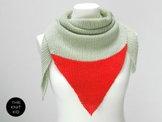 pastel green neon bright  red triangle scarf merino by THEKNITKID, €60.00
