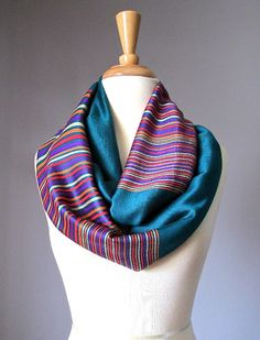 Infinity scarf, Pashmina scarf,  Teal scarf,  multicolored stripe scarf, handmade scarf