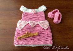Crochet Sleeping Beauty Inspired Dress por CrochetByClaudia en Etsy
