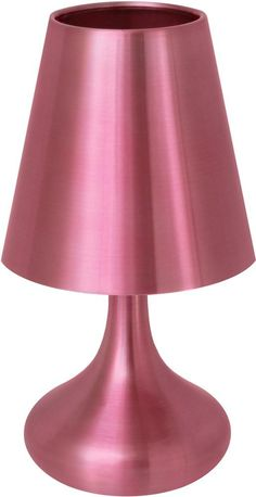Lumisource Genie Lamp Pink. Having a true contemporary design, the Pink Genie Touch Table Lamp works great in a bedroom. This side table lamp can be conveniently turned on and off with a single touch of the lamp shade. The entire lamp is made from brushed stainless steel, a typical contemporary finish. The modern and attractive pink color of this lamp is great for girls' bedrooms.Pink Genie Touch Table Lamp :   Colored Brushed Stainless Steel Finish Touch Sensor...