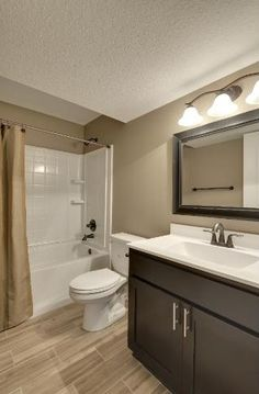 Traditional Full Bathroom with Salerno porcelain tile - rustic cariboo series gray oak, Flat panel cabinets, Inset cabinets