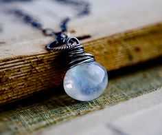 Moon Necklace Moonstone Moonlight Jewelry Galaxy by PoleStar