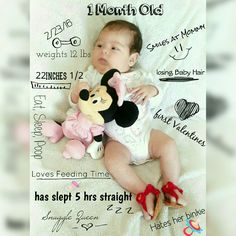 Really cute one month old baby picture.
