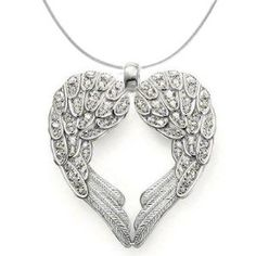 925 Sterling Silver Angel Heart Guardian Angel Wing Pendant Necklace with Cubic Zirconia Accents: Glam and Gloria: