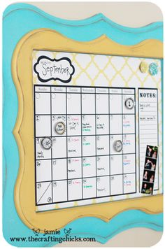framed dry erase calendar {watch out kitchen wall-a variation coming soon!}