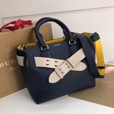 Burberry Small Leather Belt Top Handle Bag Blue Off-White 2018     Real  Purse 49b5ea697ed24