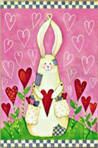 "Bunny Love Valentine's Day Garden Flag by DDF. $5.99. Durable yet breeze-friendly. Text correctly readable on one side of flag only. Special fabric to preserve the life and colors of the flag!. 12""x18"". Decorative flags are a great home and garden decoration for every season and reason!  The unique production process that goes into our flags is your guarantee that your flag will retain shape, fabric durability and vivid color through any weather condition & for many years to come!"